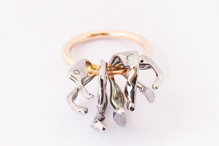 Envious Eyes will Roll with Contemporary One of a Kind White Diamond Gold Ring For Sale 5