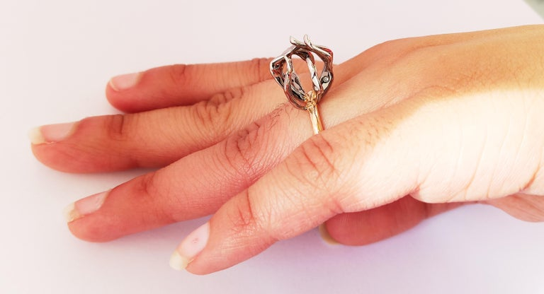 Envious Eyes will Roll with Contemporary One of a Kind White Diamond Gold Ring For Sale 7