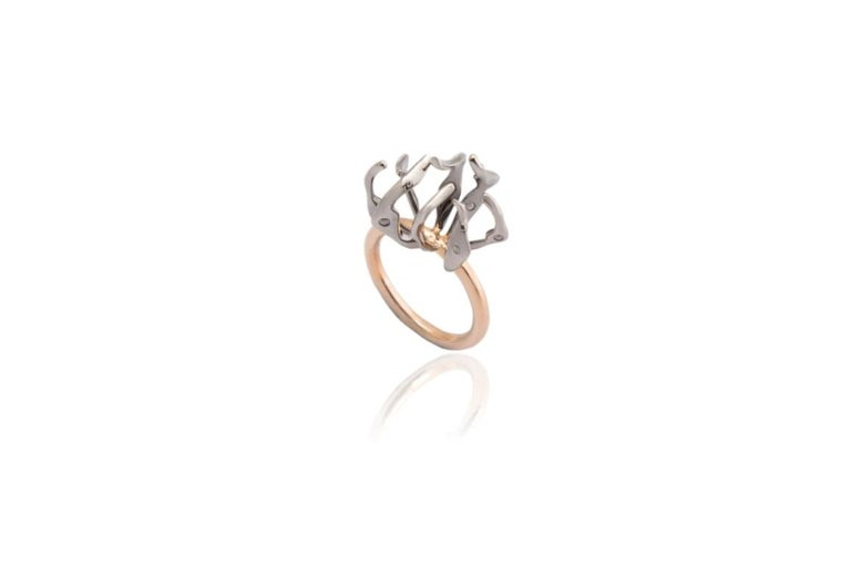 Envious Eyes will Roll with Contemporary One of a Kind White Diamond Gold Ring For Sale 11