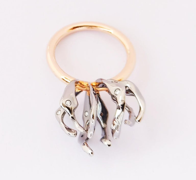 Women's Envious Eyes will Roll with Contemporary One of a Kind White Diamond Gold Ring For Sale