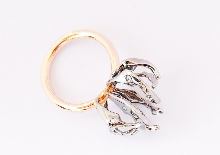 Envious Eyes will Roll with Contemporary One of a Kind White Diamond Gold Ring For Sale 1
