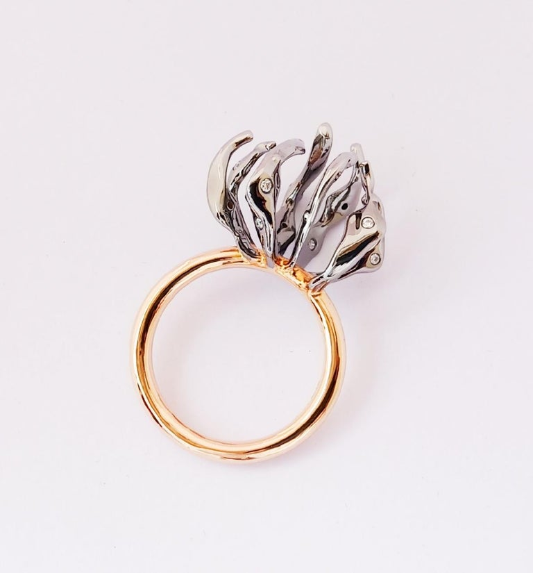 Envious Eyes will Roll with Contemporary One of a Kind White Diamond Gold Ring For Sale 3