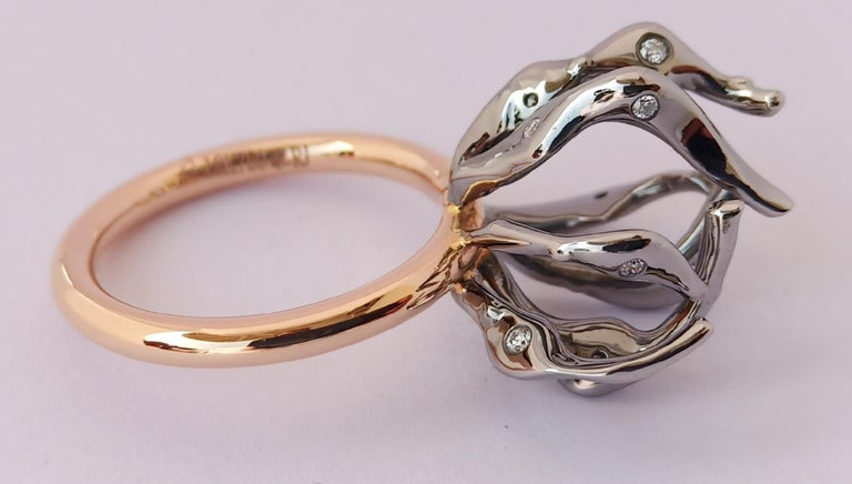 Envious Eyes will Roll with Contemporary One of a Kind White Diamond Gold Ring For Sale 4