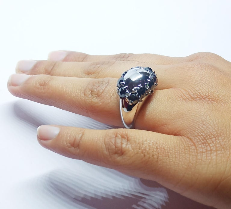 Envious Eyes will Roll with One of a Kind Black & White Diamond White Gold Ring For Sale 5