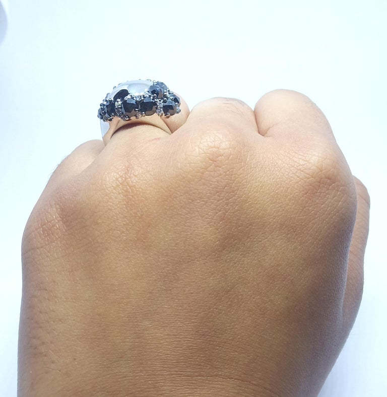 Envious Eyes will Roll with One of a Kind Black & White Diamond White Gold Ring For Sale 6