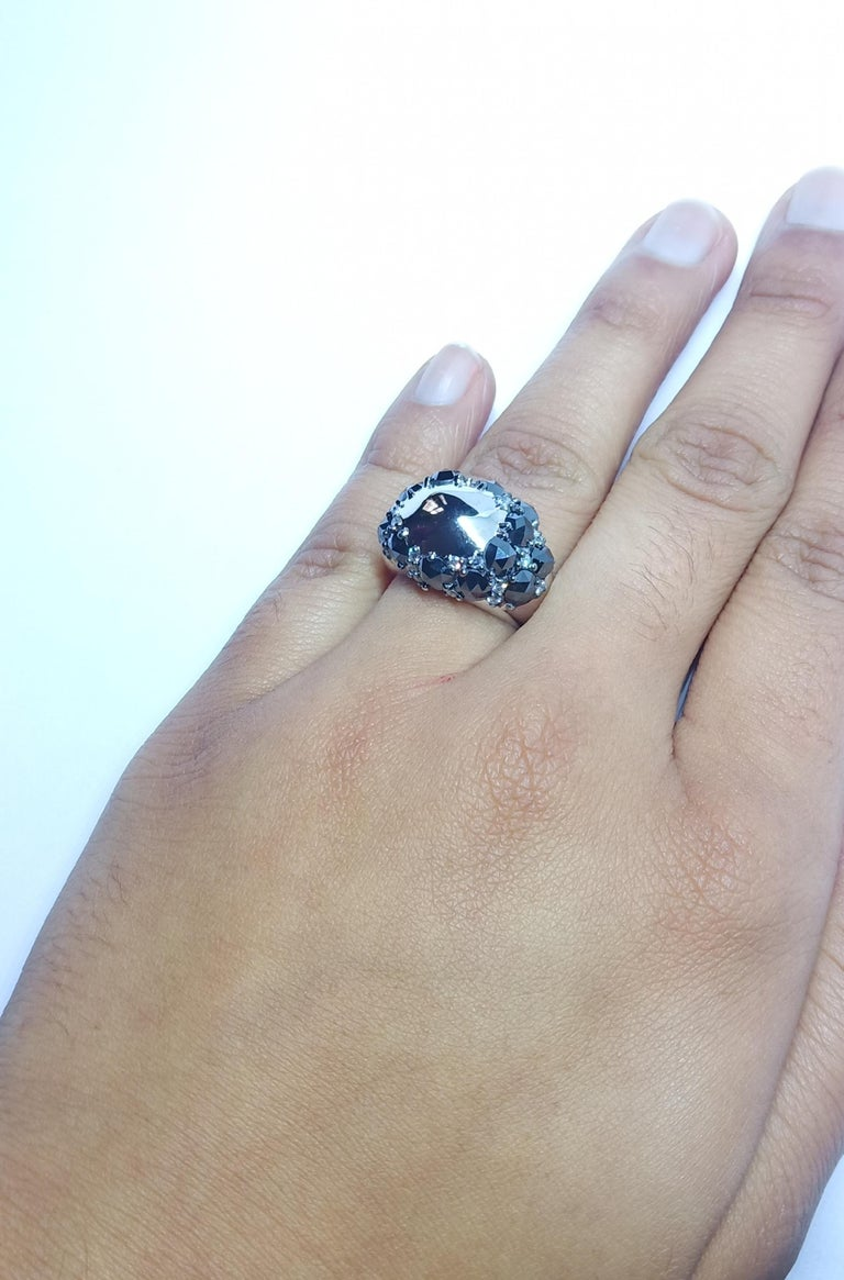 Envious Eyes will Roll with One of a Kind Black & White Diamond White Gold Ring For Sale 7