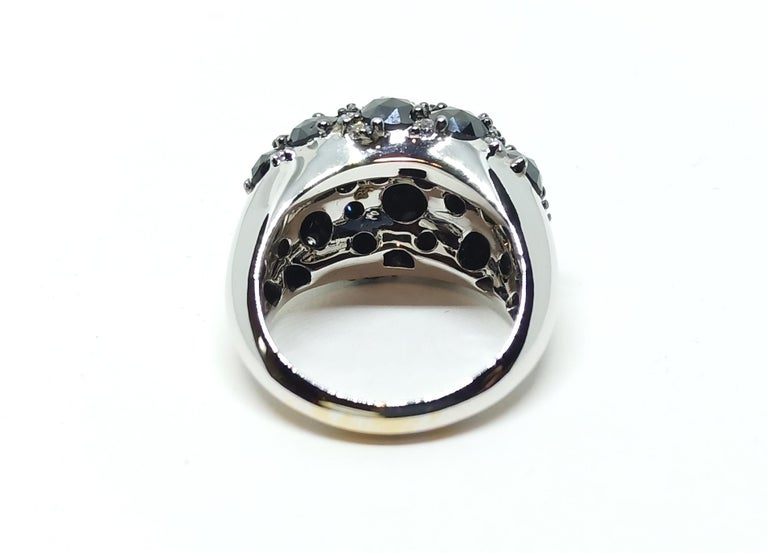 Rose Cut Envious Eyes will Roll with One of a Kind Black & White Diamond White Gold Ring For Sale