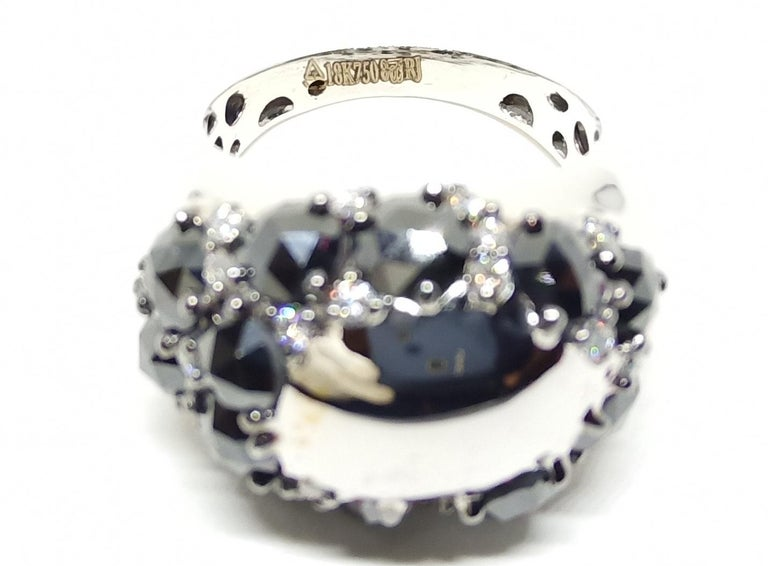 Women's Envious Eyes will Roll with One of a Kind Black & White Diamond White Gold Ring For Sale