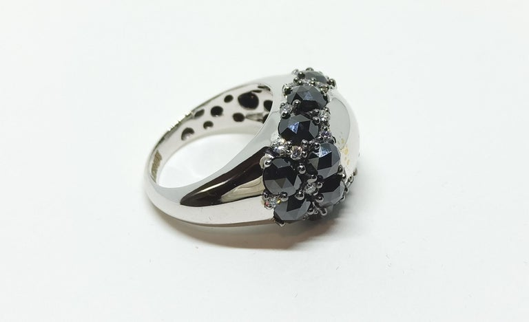 Envious Eyes will Roll with One of a Kind Black & White Diamond White Gold Ring For Sale 2