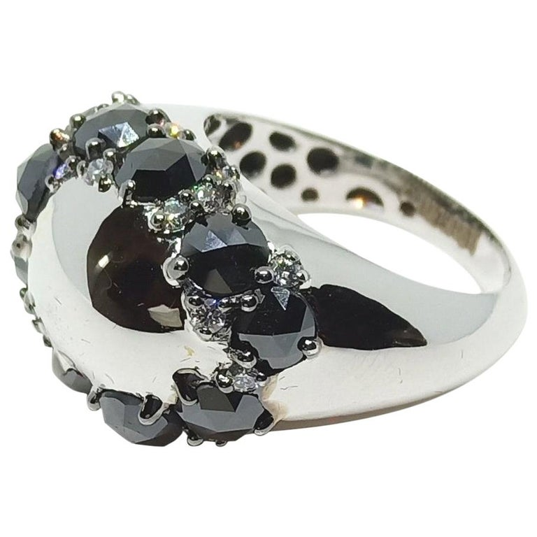Envious Eyes will Roll with One of a Kind Black & White Diamond White Gold Ring For Sale