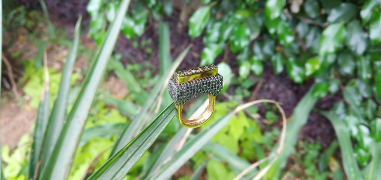 Contemporary Envious Eyes will Roll with One of a Kind Colored Diamond Yellow Gold Ring For Sale