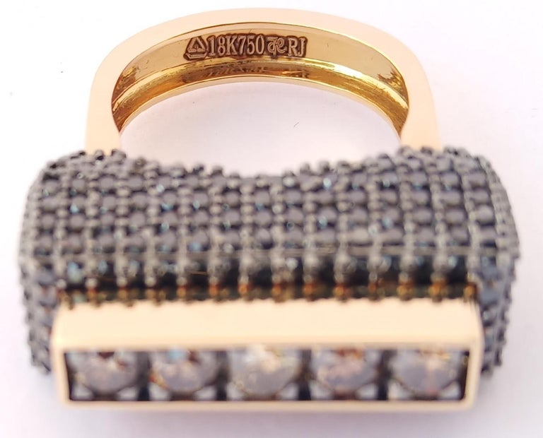 Women's Envious Eyes will Roll with One of a Kind Colored Diamond Yellow Gold Ring For Sale