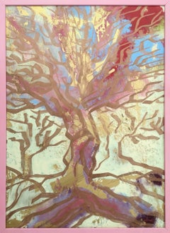 """"""" Albero rosa"""" by Enzio Wenk, 2018 - Oil Paint on Masonite, Expressionism"""