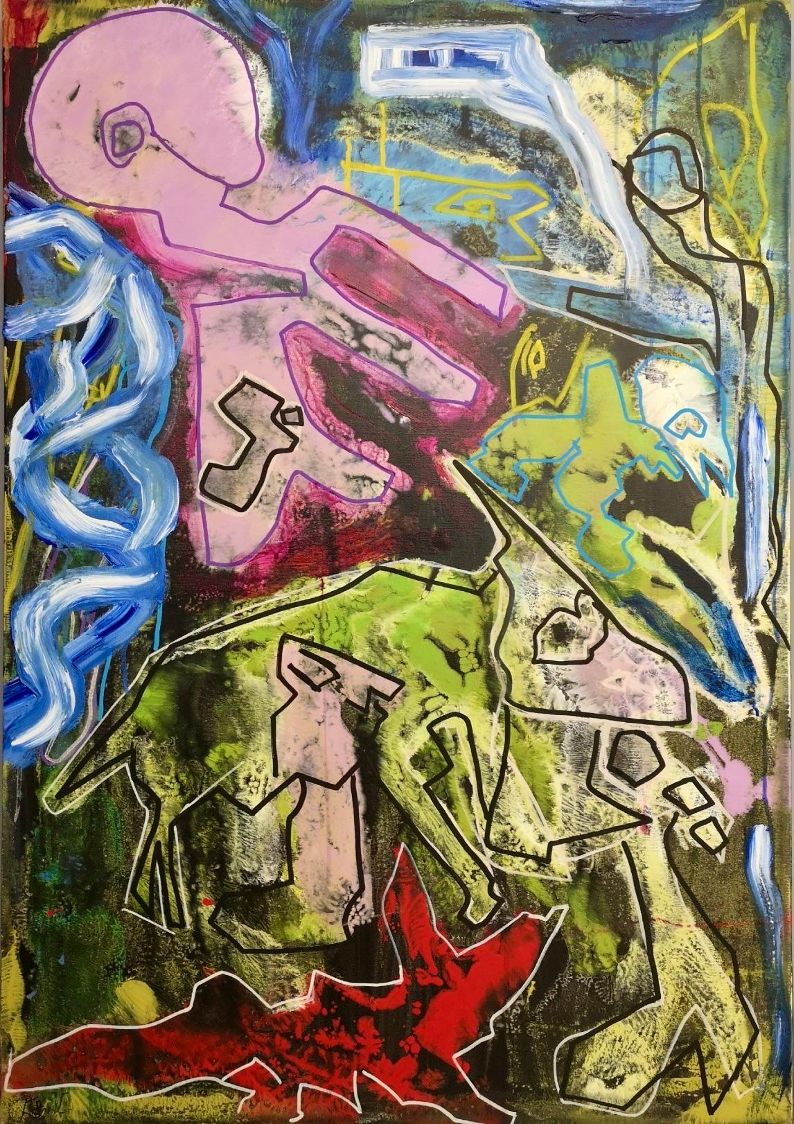 """""""Animali"""" by Enzio Wenk, 2018 - Acrylic Paint on Canvas, Neo-Expressionism"""