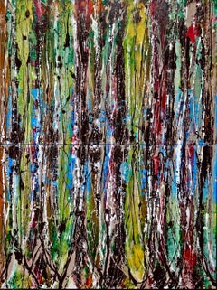 """Bosco verticale"" by Enzio Wenk, 2017 - Diptych, Mixed Media, Neo-Expressionism"
