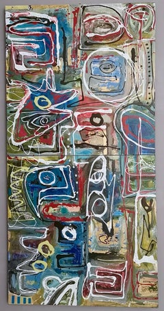 """""""Composizione"""" by Enzio Wenk, 2017 - Lacquer and Oil on Canvas, NeoExpressionism"""