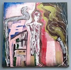 """""""Figura con albero"""" by Enzio Wenk, 2020 -Acrylic on Canvas, Neo-Expressionism"""