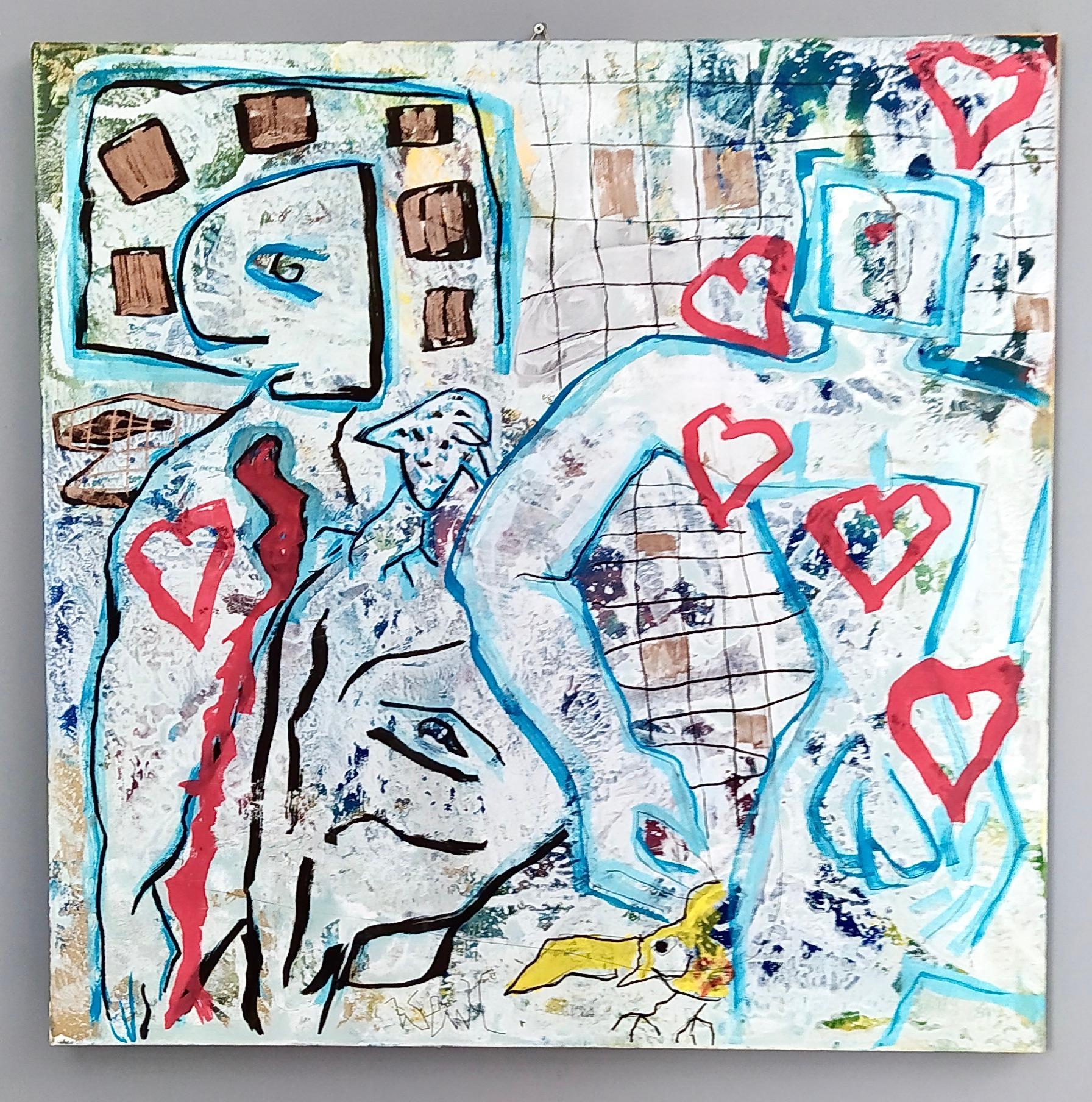 """Fragili cuori"" by Enzio Wenk, 2018 -Acrylic on Canvas, Neo-Expressionism"