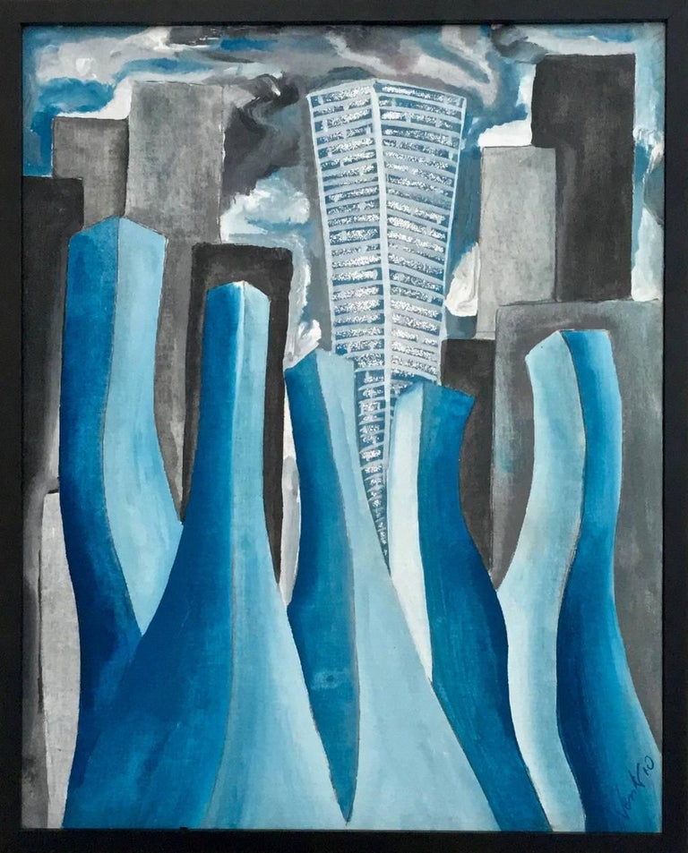 """Enzio Wenk Abstract Painting - """"Mattino a San Paolo"""" by E. Wenk, 2010 - Acrylic on Canvas, Expressionism, Blue"""
