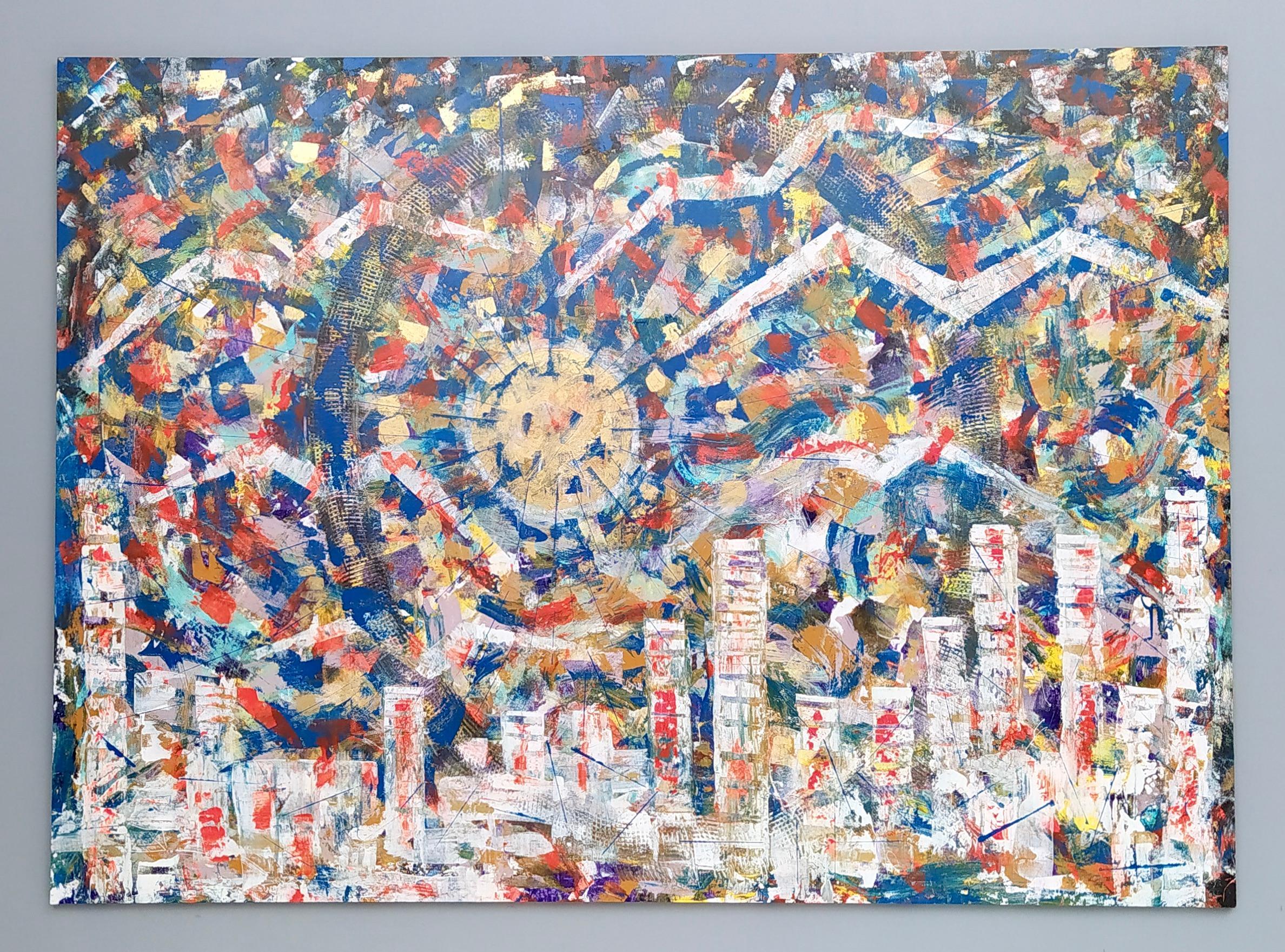 """Paesaggio urbano"" by Enzio Wenk, 2020 - Acrylic on Canvas, Neo-Expressionism"