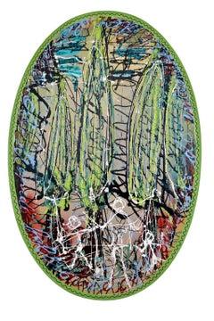 """Passeggiata tra i cipressi"" by Enzio Wenk, 2015- Acrylic on Wood, Expressionism"