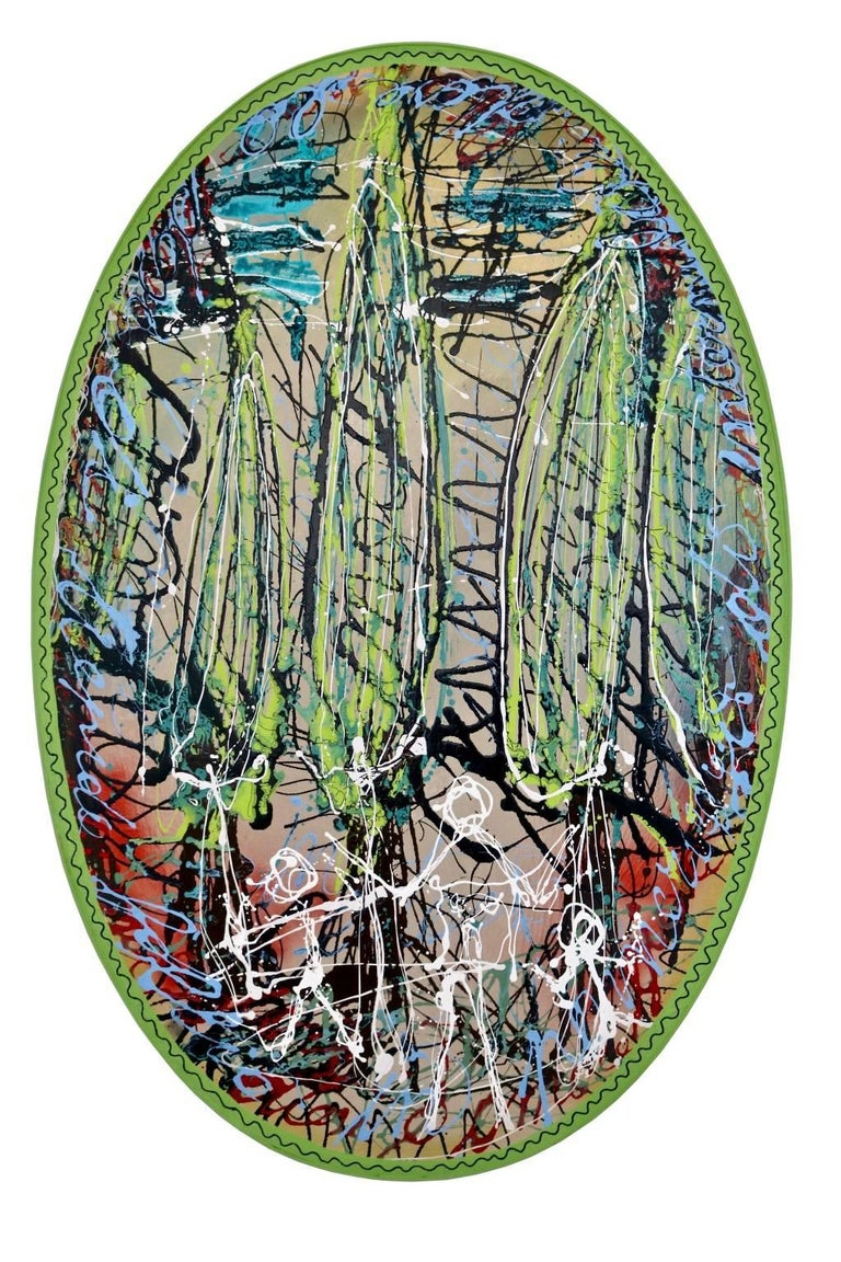 "Translated title: ""Stroll among cypresses""  Acrylic on wood."