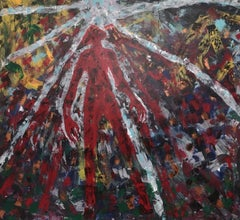 """Verso il cielo"" by Enzio Wenk, 2019 -Enamel on Canvas, Neo-Expressionism"