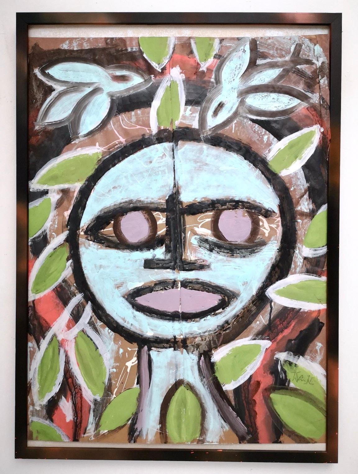 """Viso Tondo Celeste"" by Enzio Wenk, 2018 - Acrylic on Paper, Neo-Expressionism"