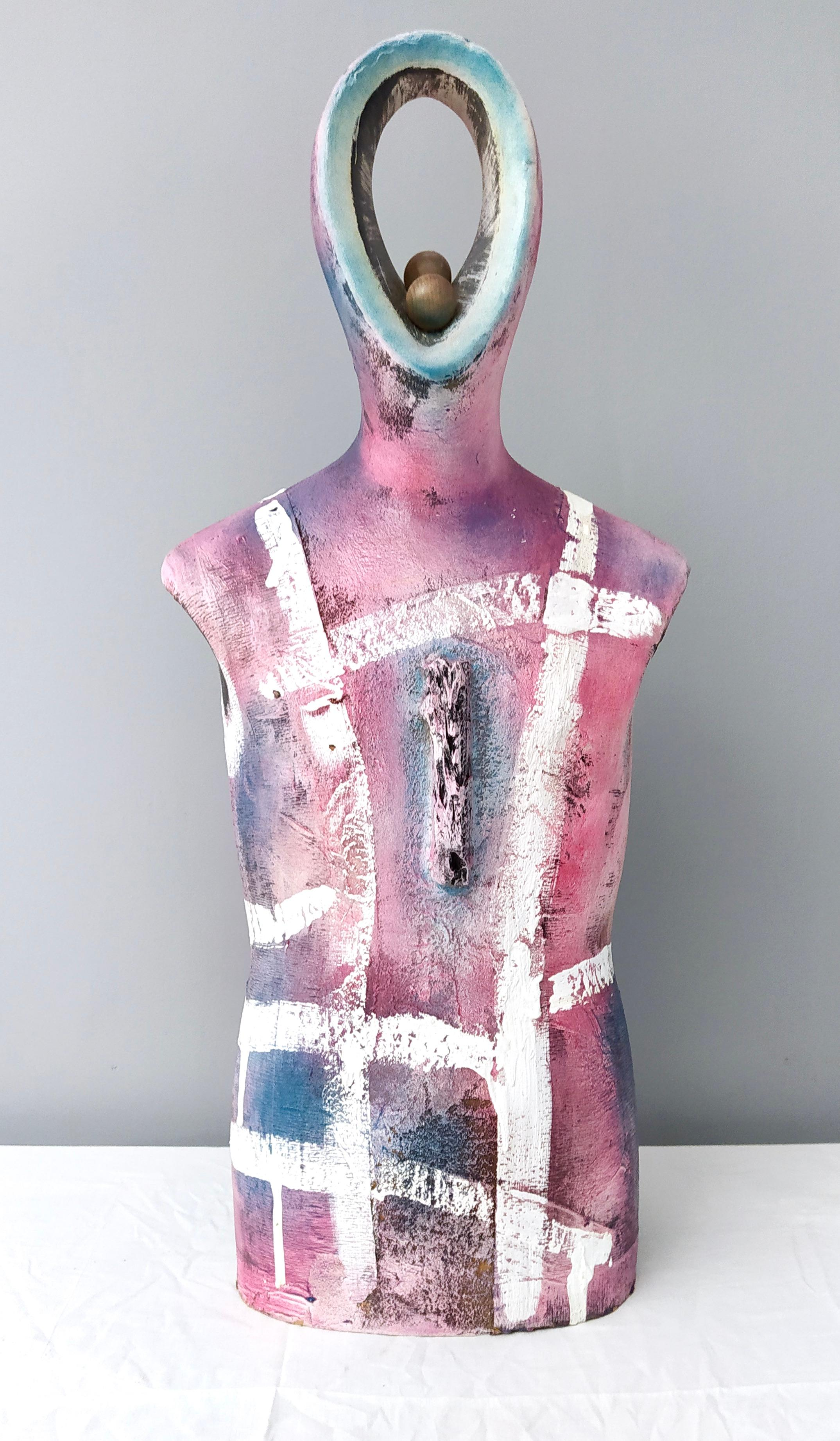 """""""Il narratore"""" by Enzio Wenk, 2020 - Pink Wooden Sculpture, Neo-Expressionism"""