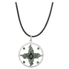 Enzo 18 Karat White Gold Green Tourmaline and Diamond Enhancer Pendant Necklace