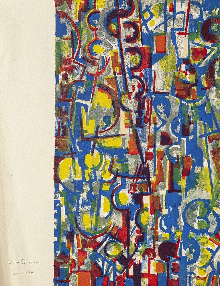 Enzo Brunori Abstract Print - Abstract Composition - Original Scree Print and Lithograph by E. Brunori - 1955