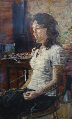 """Model in the studio""Woman, White coat Oil on wood 1981"