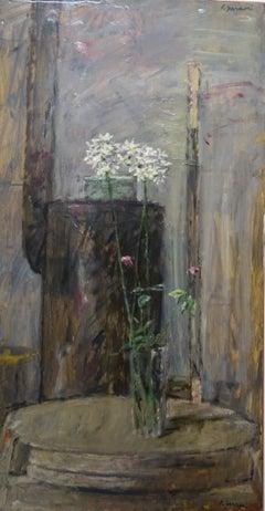 """White flowers"""" """" Oil   cm. 40 x 73 1970"""