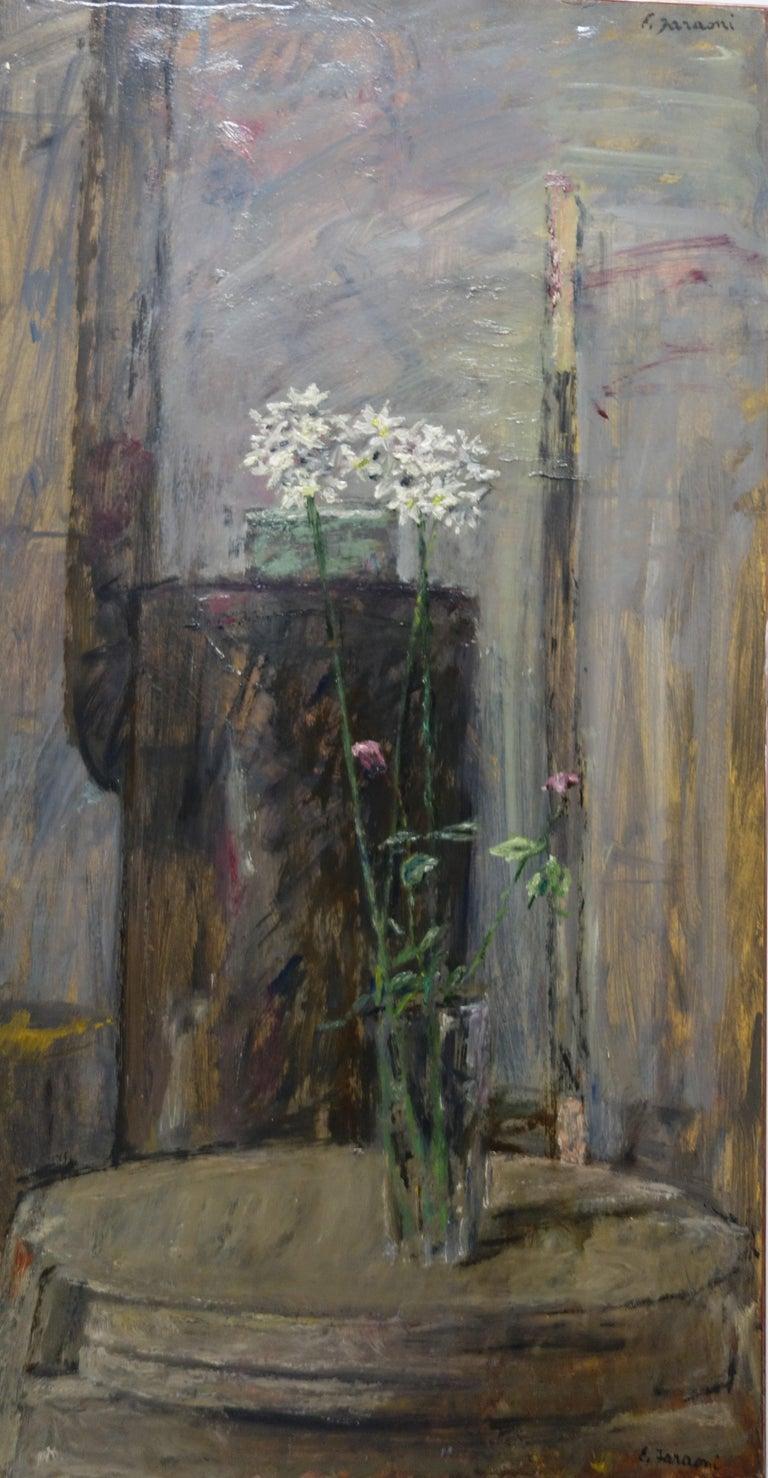 "Enzo FARAONI Still-Life Painting - White flowers"" "" Oil   cm. 40 x 73 1970"