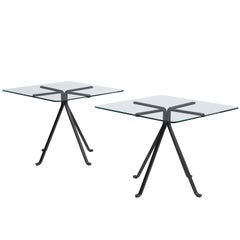 Enzo Mari 'Cuginetto' Pair of Side Table in Steel and Glass