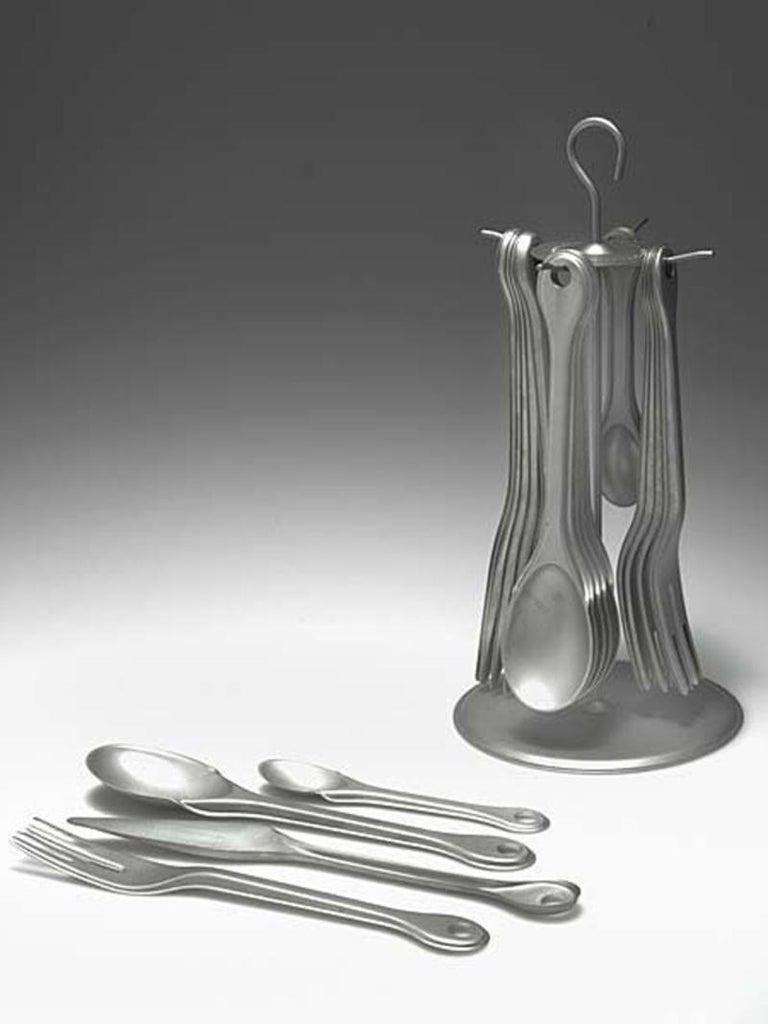 Industrial Enzo Mari Cutlery Set for Six Piuma in Stainless Steel for Zani & Zani, 1996