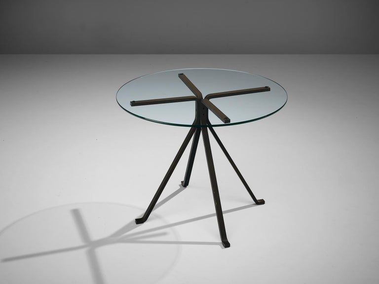 Enzo Mari for Driade, Cuginetto pair of side tables, glass and painted steel, Italy, 1970s.  This set of coffee tables, called Cuginetto, are designed by Enzo Mari and manufactured by Driade. It features a black anthracite painted steel sections