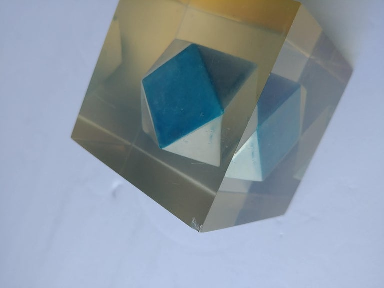 Modern Enzo Mari, Rare Resin Cube, Sculpture, Paperweight, with Polyhedral Inside For Sale