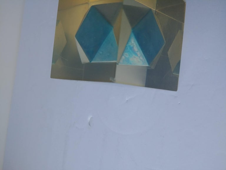 Italian Enzo Mari, Rare Resin Cube, Sculpture, Paperweight, with Polyhedral Inside For Sale