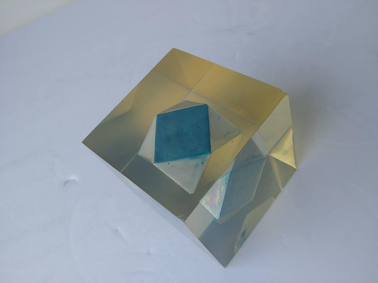 Enzo Mari, Rare Resin Cube, Sculpture, Paperweight, with Polyhedral Inside In Excellent Condition For Sale In Los Angeles, CA