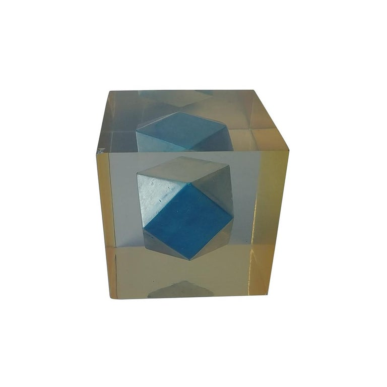 Enzo Mari, Rare Resin Cube, Sculpture, Paperweight, with Polyhedral Inside For Sale