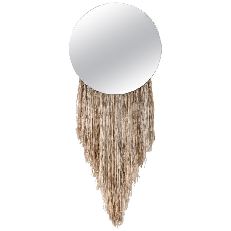 Round Clear Mirror with Fiber - Contemporary Eos Mirror by Ben & Aja Blanc For Sale