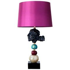 Eos Table Lamp by Margit Wittig with Glass, Turquoise and Red on Slate Base