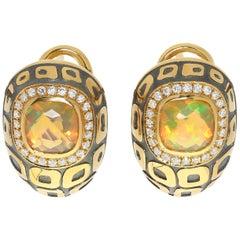 Ephiopian Opal 0.99 Carat Diamonds 18 Karat Yellow and Black Gold Earrings