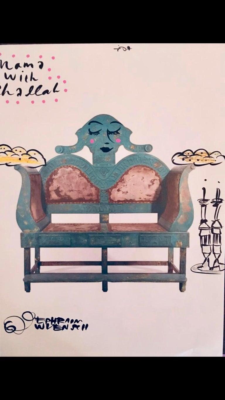 Mixed Media Bris Chair Antique Brith Mila Judaica Pop Art Drawing NYC Street Art For Sale 2