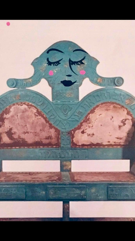 Mixed Media Bris Chair Antique Brith Mila Judaica Pop Art Drawing NYC Street Art For Sale 3