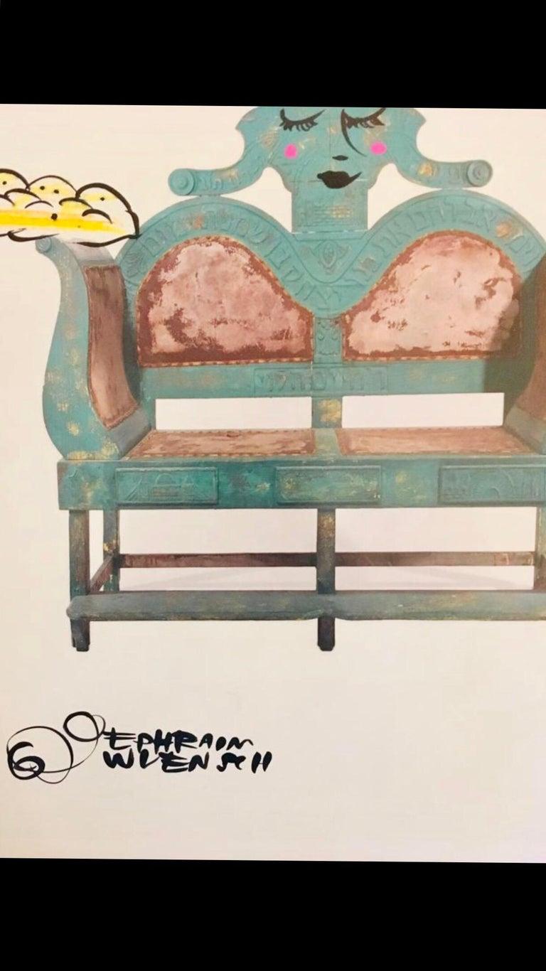 Mixed Media Bris Chair Antique Brith Mila Judaica Pop Art Drawing NYC Street Art For Sale 4