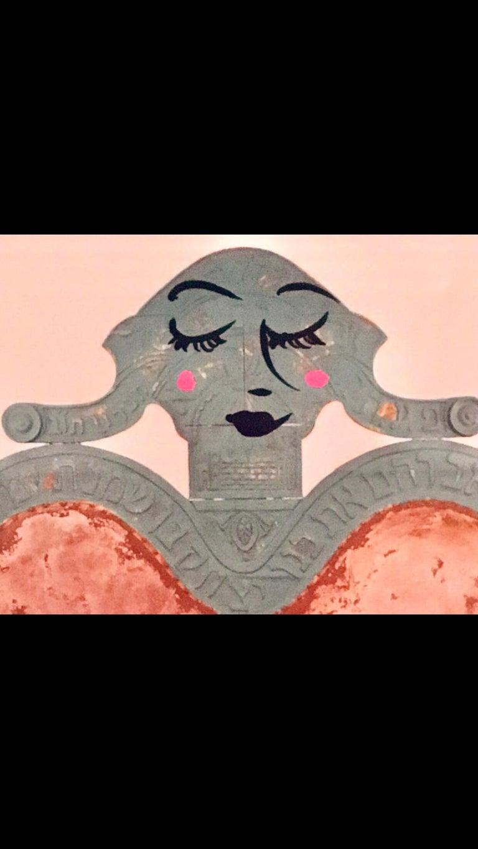 Mixed Media Bris Chair Antique Brith Mila Judaica Pop Art Drawing NYC Street Art For Sale 5