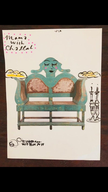 Mixed Media Bris Chair Antique Brith Mila Judaica Pop Art Drawing NYC Street Art For Sale 1