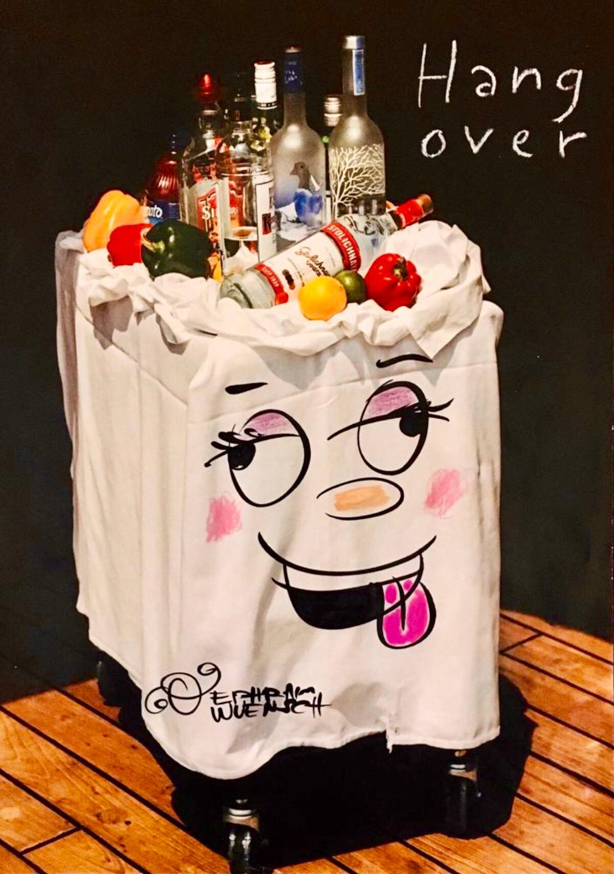 "Mixed Media ""Hangover"" Vodka Bar Cart Pop Art Drawing NYC Street Art"